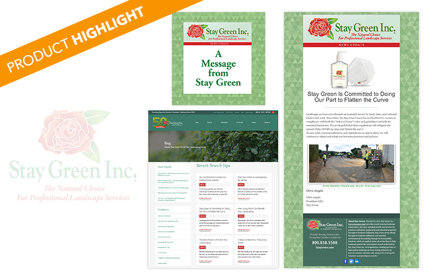 Product Highlight: Stay Green Blog, Social Media, and E-Blasts